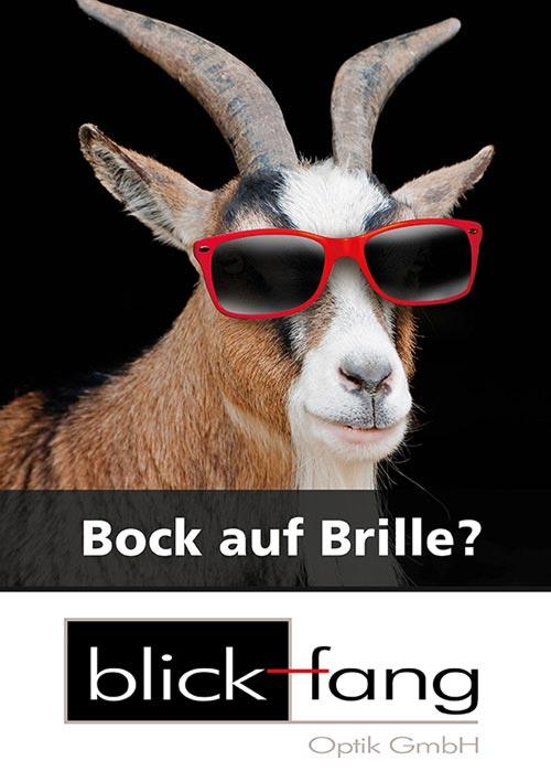Blickfang Optiker Trier Bock auf Brille
